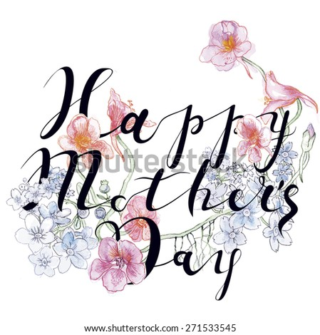 Vintage Happy Mothers's Day Typographical Floral Background. Happy Mother's Day - Stylish Greeting Card. Happy Mothers Day Unusual hipster Banner. - stock vector