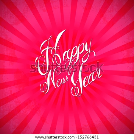 Vintage Happy New Year Banner red - stock vector