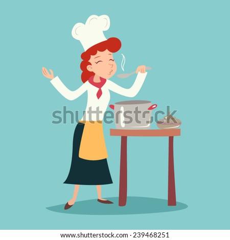 Vintage Happy Smiling Chief Cook Girl Tasting Dish Symbol Food Icon on Stylish Background Retro Cartoon Design Vector Illustration - stock vector