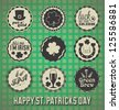 Vintage Happy St. Patrick's Day Labels and Icons - stock
