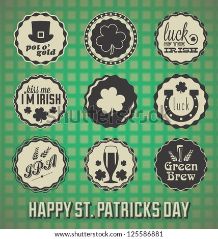 Vintage Happy St. Patrick's Day Labels and Icons - stock vector