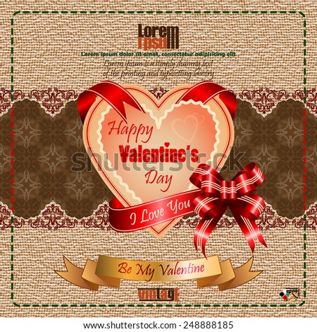 "Vintage Happy Valentine's Day background with ""Happy Valentine's Day"" text and ""I Love you"" on ribbon, vintage linen/jute and arabesques pattern design as backdrop.   - stock vector"