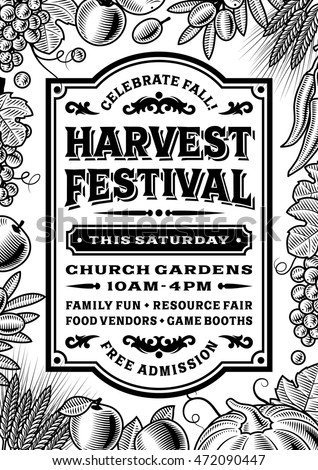 Vintage harvest festival poster black and white editable vector illustration in retro woodcut style with