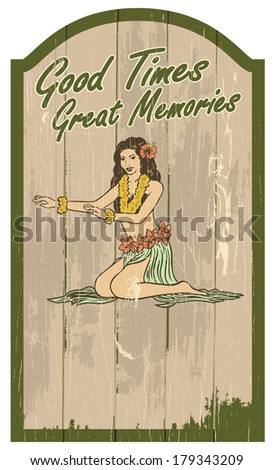 Vintage Hawaii sign - stock vector