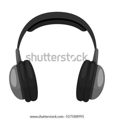 Vintage headphones icon in monochrome style isolated on white background. Hipster style symbol stock vector illustration.
