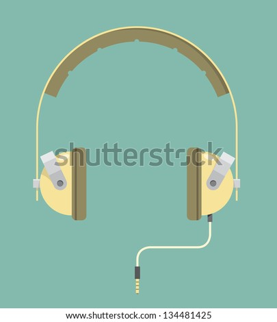 Vintage headphones with cord - stock vector