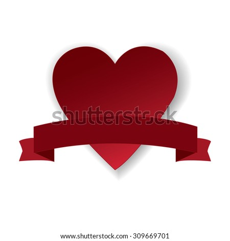Vintage heart and ribbon Valentines day vector illustration eps 10 - stock vector