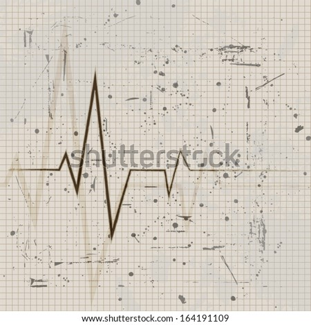 Vintage heart beats cardiogram retro poster - stock vector