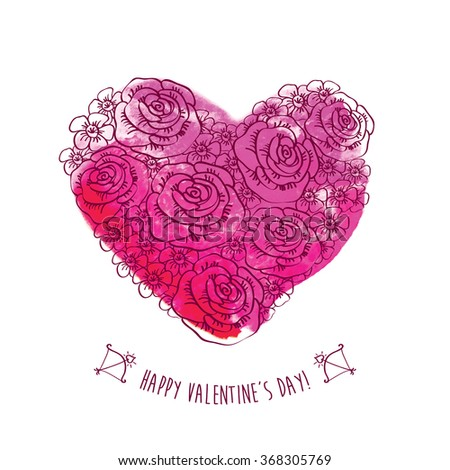 Vintage heart of flowers on the pink watercolor background.. Greeting card for Valentine's Day. Congratulation. Hand drawn decorative floral elements for Valentine's Day. Doodles, sketch. Vector - stock vector