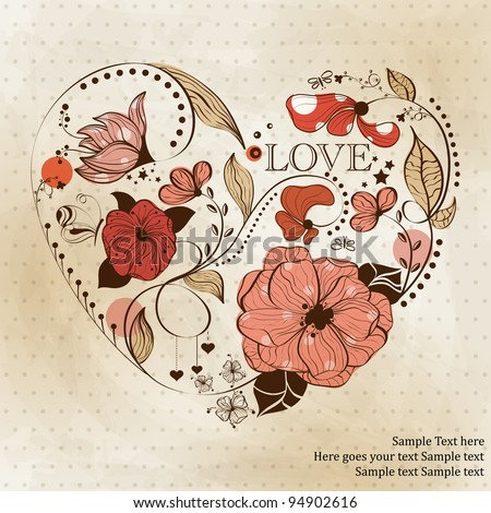 Vintage heart shape. St. Valentine's greeting card - stock vector