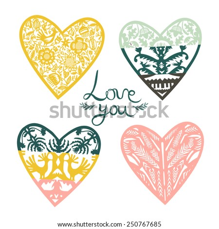 Vintage hearts - stock vector
