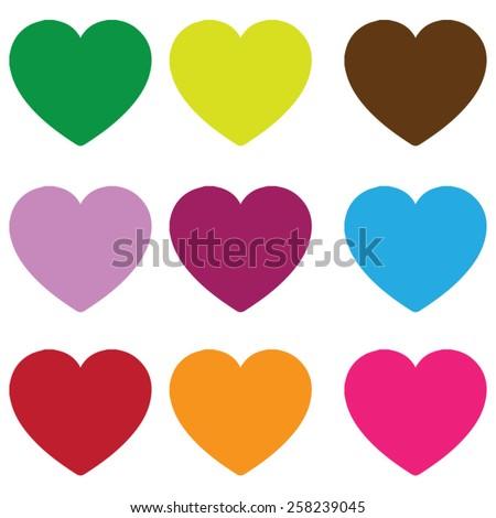Vintage Hearts, a collection of vintage coloured love hearts, here are nine coloured love hearts. - stock vector
