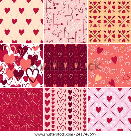 Vintage hearts and love symbols seamless patterns set. Valentine's day backgrounds. Wedding theme. - stock vector