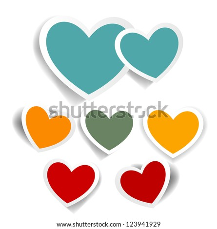 Vintage hearts set, Valentines day vector illustration - stock vector