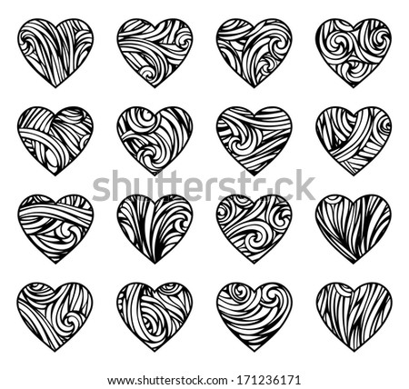 Vintage hearts. Various vintage hearts isolated on white background. Vector elements for your Valentine's design. EPS 8. - stock vector