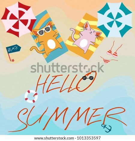 Vintage Hello Summer Cute Adorable Cat On The Sea Beach,happy Holiday Time  Funny Theme