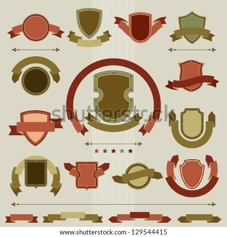 Vintage heraldry shields and ribbons retro style set. - stock vector