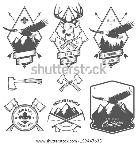 Vintage hiking and camping labels, badges and design elements - stock vector
