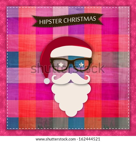 Vintage Hipster christmas greeting  card with ornate snowflakes, hipster santa and scrapbook elements. Modern handmade / paper craft design. Vector illustration. - stock vector