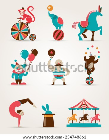 vintage hipster circus collection with carnival, fun fair, vector icons and background and illustration - stock vector