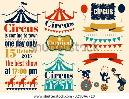 Vintage Hipster Circus labels set. Vector flat illustration. - stock vector