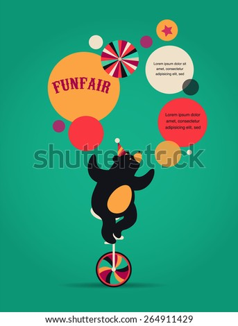 vintage hipster circus poster, background with cute bear, fun fair, and speech bubbles - stock vector