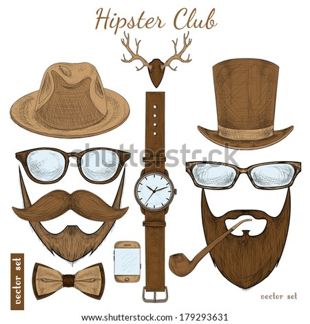 Vintage hipster club accessories set for gentleman of glasses hat tobacco pipe bow mustache and beard isolated sketch vector illustration - stock vector