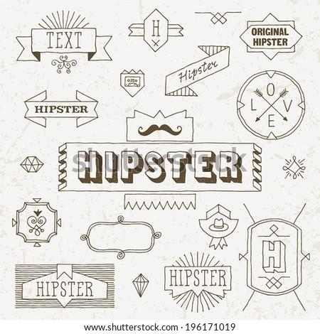 Vintage hipster hand drawn design elements set 4. Vector illustration. - stock vector