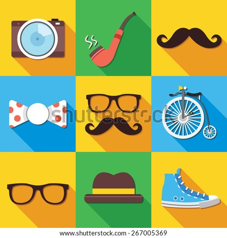 Vintage hipster icons set. Vector illustration. - stock vector