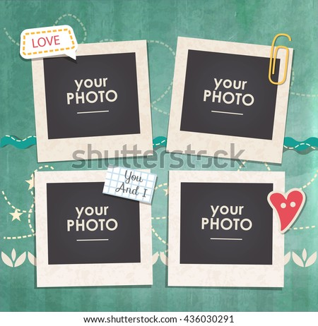 Vintage hipster retro stile. Decorative vector template frame. These photo frame can be use  for kids picture or  memories. Scrapbook design concept. Inset your picture.  - stock vector