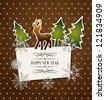 Vintage holiday background with deer, trees and snowflakes - stock