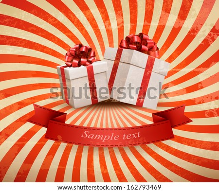 Vintage holiday background with two red gift boxes. Vector illustration.  - stock vector