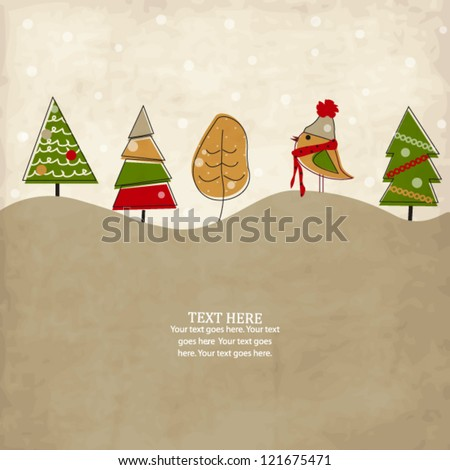 Vintage holiday card with bird and Christmas trees - stock vector