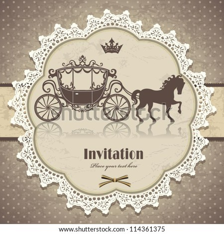 Vintage horse carriage invitation template - stock vector