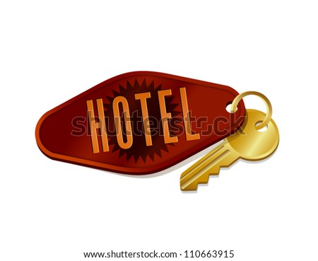 vintage hotel/motel room key - stock vector