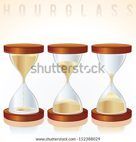 Vintage Hourglass. Three Different States. Vector Graphics