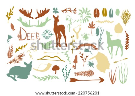 Vintage hunt. Forest animals and plants silhouette set. Hand drawn isolated vintage illustration - stock vector