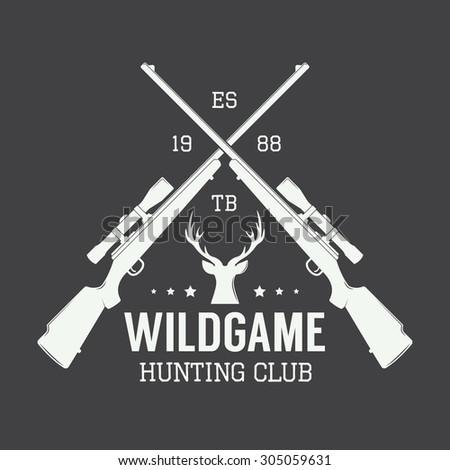 Vintage hunting label, logo or badge and design elements. Vector illustration - stock vector