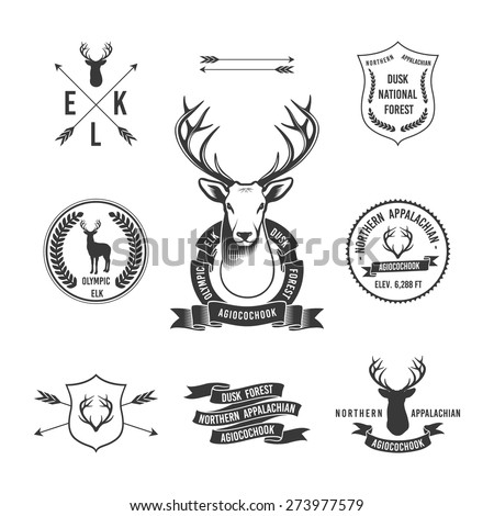 Vintage hunting set of a labels, badges and decor elements. vector illustration for your design. - stock vector