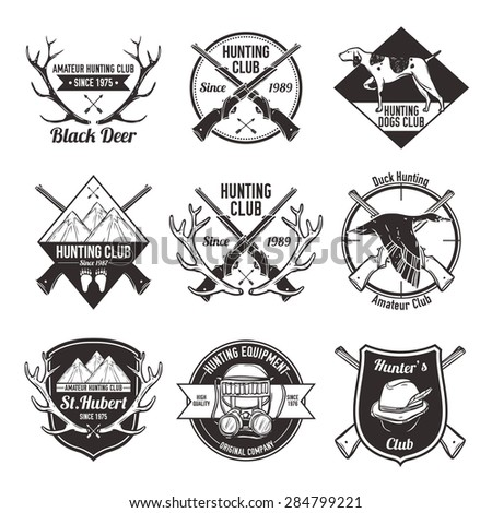 Vintage hunting with dog duck mountain and gun labels set isolated vector illustration - stock vector
