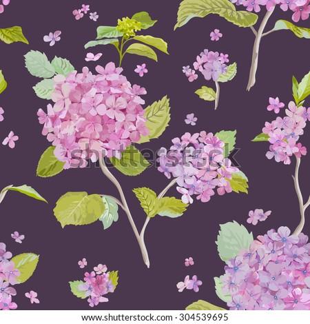 Vintage Hydrangea Background - seamless pattern for design, print, scrapbook - in vector - stock vector