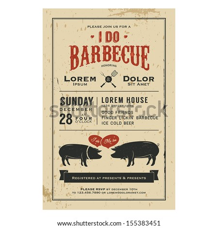 Vintage 'I Do' Barbecue wedding invitation card - stock vector