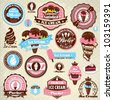 Vintage ice cream label set template - stock vector