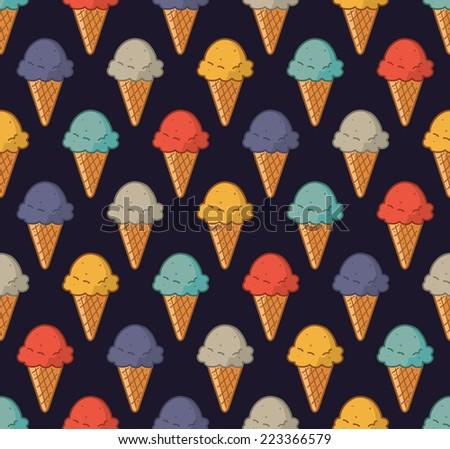 vintage ice cream pattern - stock vector