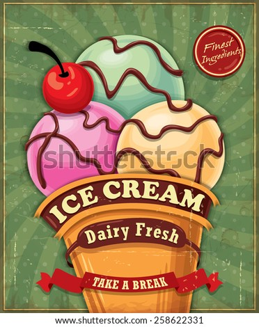 Vintage ice cream poster design  - stock vector