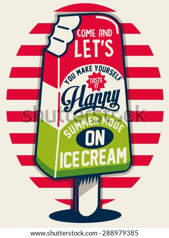 Vintage Ice Cream Poster. Vector illustration - stock vector