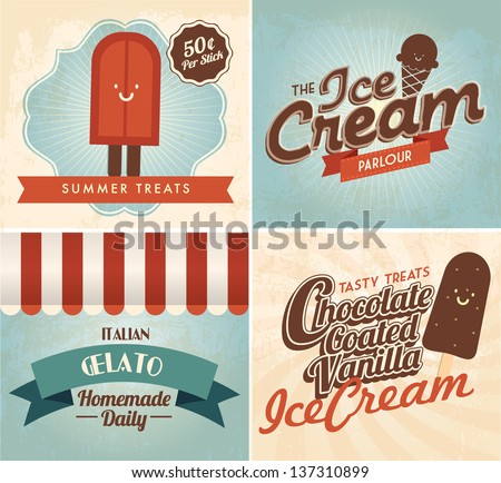 vintage ice cream templates vector/illustration - stock vector