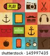 Vintage Icons Set. Retro paper backgrounds - stock vector