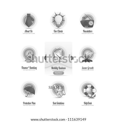 Vintage icons set with image slider menu - stock vector