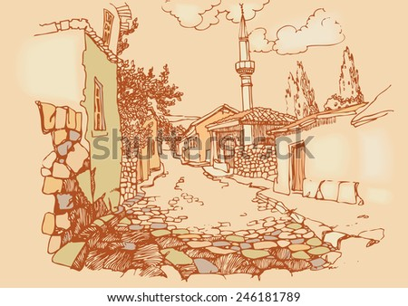 Vintage Illustration  of the old city. Sketch, hand drawn with ink, engraved retro style. Vector illustration. - stock vector
